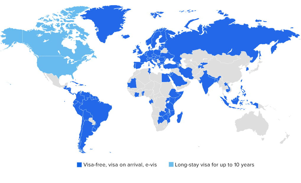 St Kitts - visa-free countries map