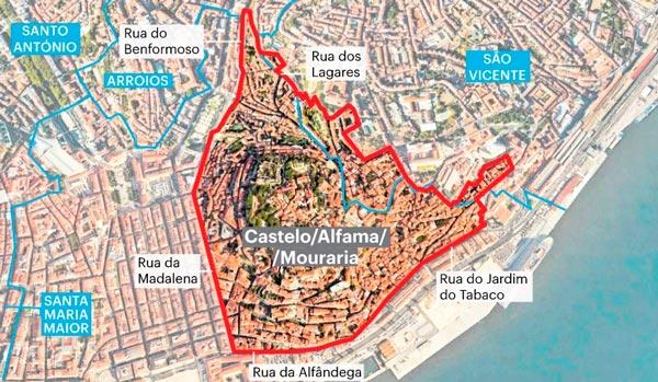 Лиссабон: зоны регистрации жилья Альфама, Мурария и Каштелу