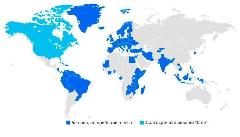 Карта безвизовых стран для граждан Доминики