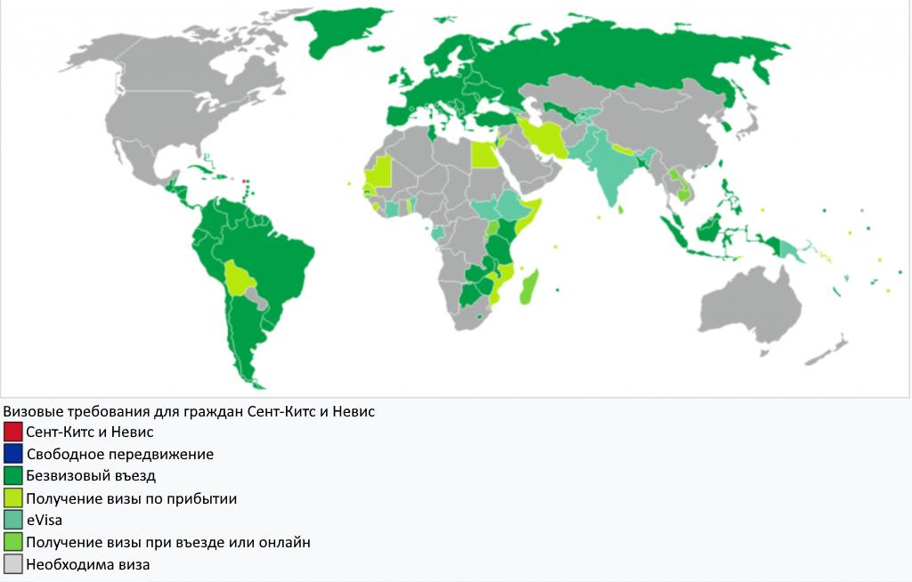 Безвизовые страны для Сент-Китс и Невис